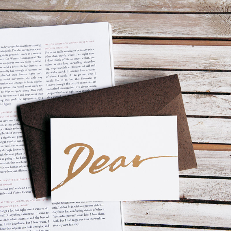 Dear calligraphy message card