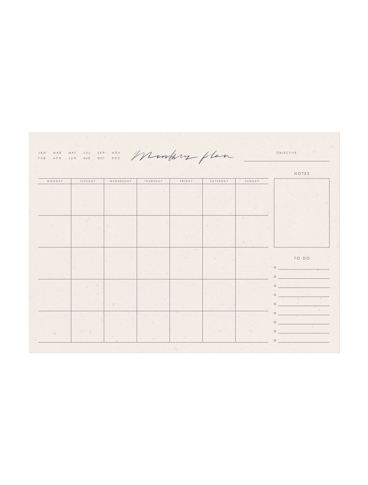 Calligraphy Monthly Plan Pad